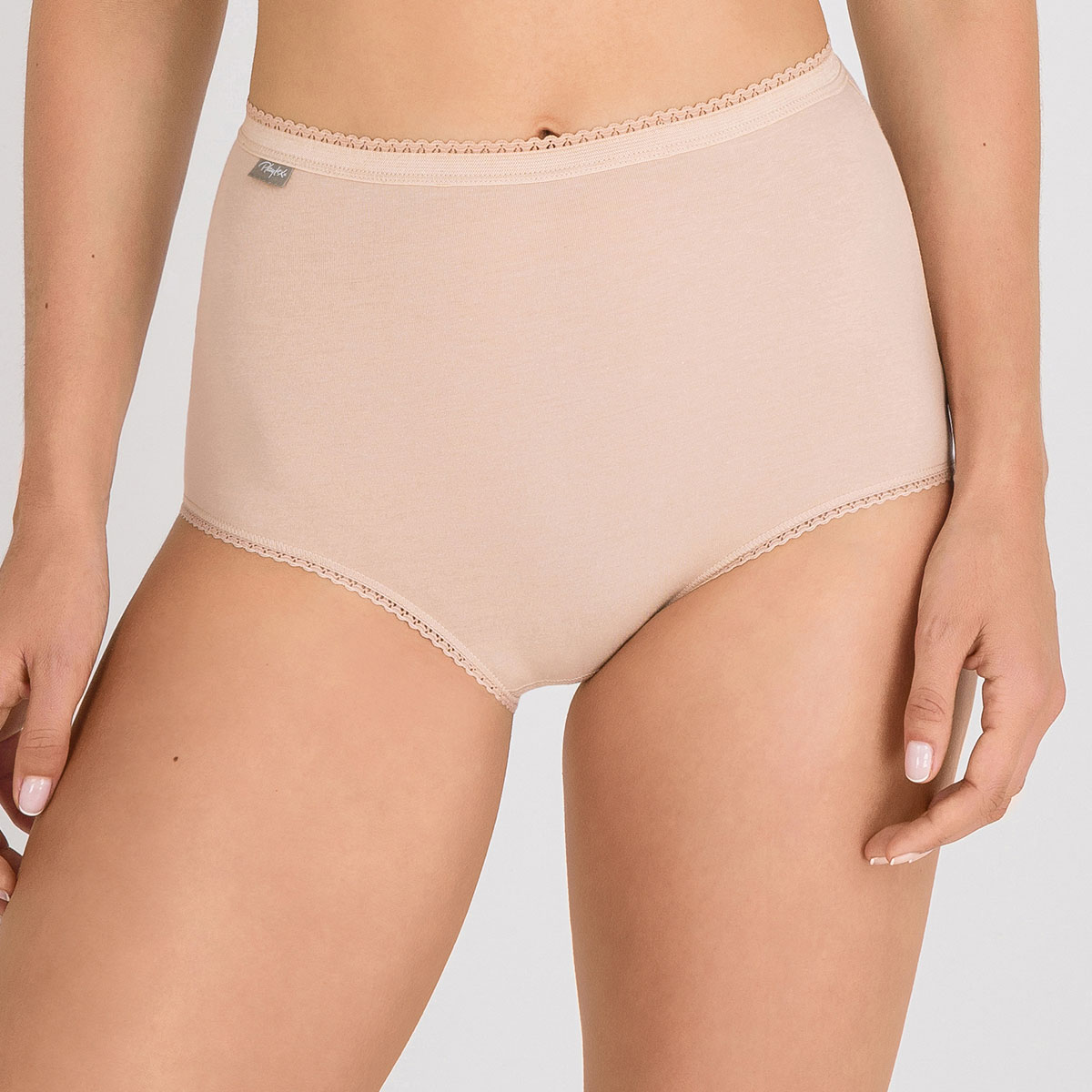 2 pack of high-rise knickers in beige– Stretch Cotton, , PLAYTEX