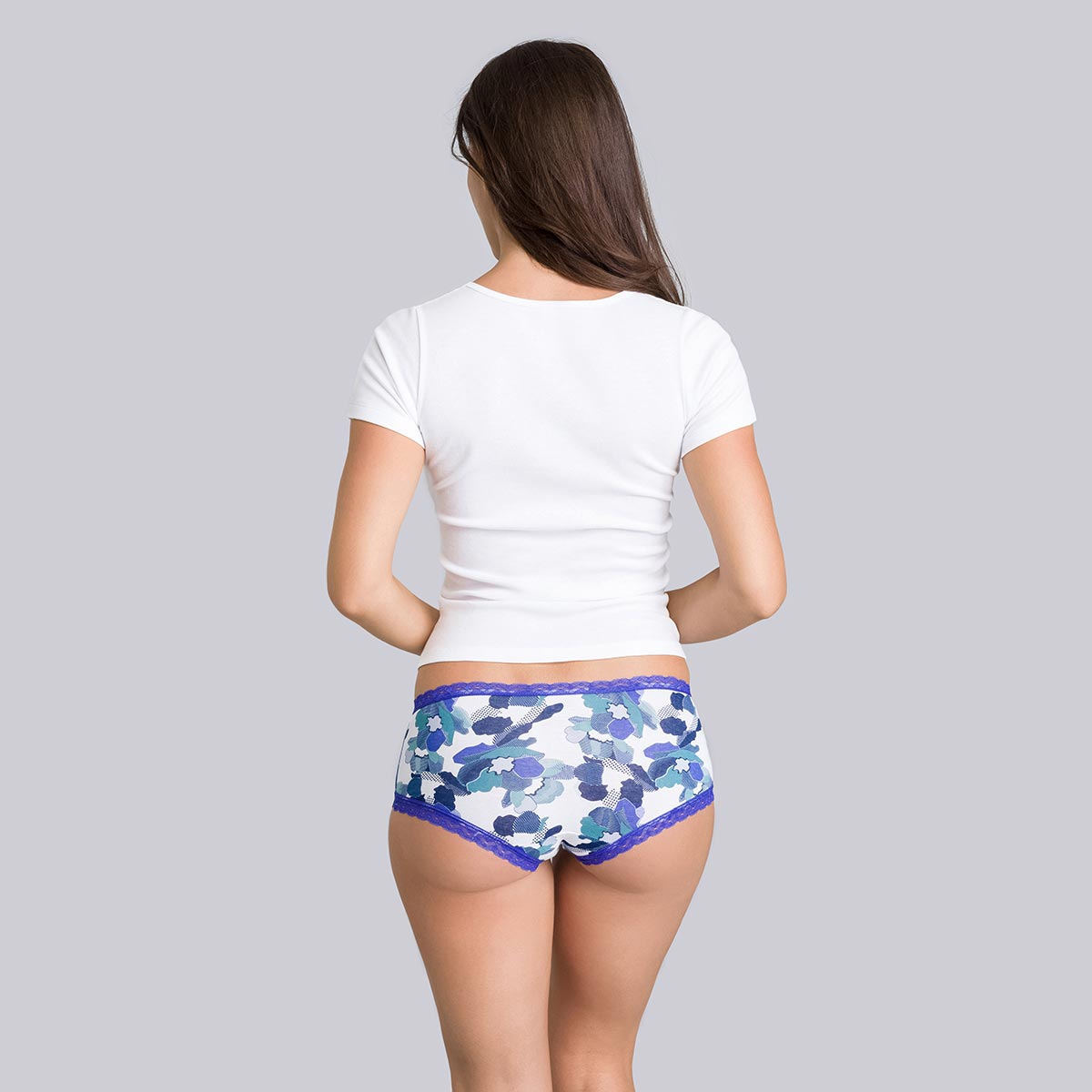2 pairs of floral blue boy shorts - Cotton Fancy-PLAYTEX