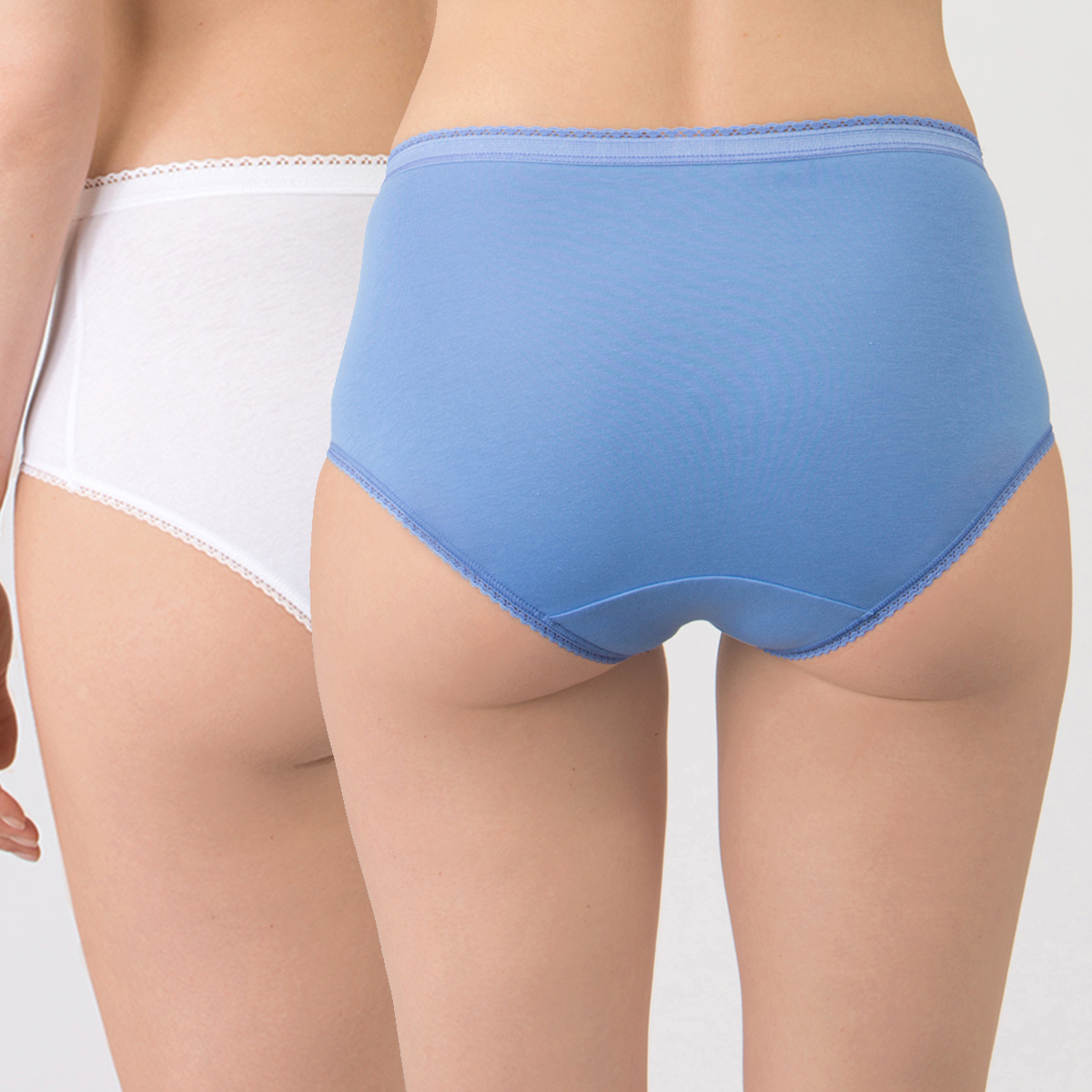 2 Midi Briefs in Blue and  White – Stretch Cotton-PLAYTEX
