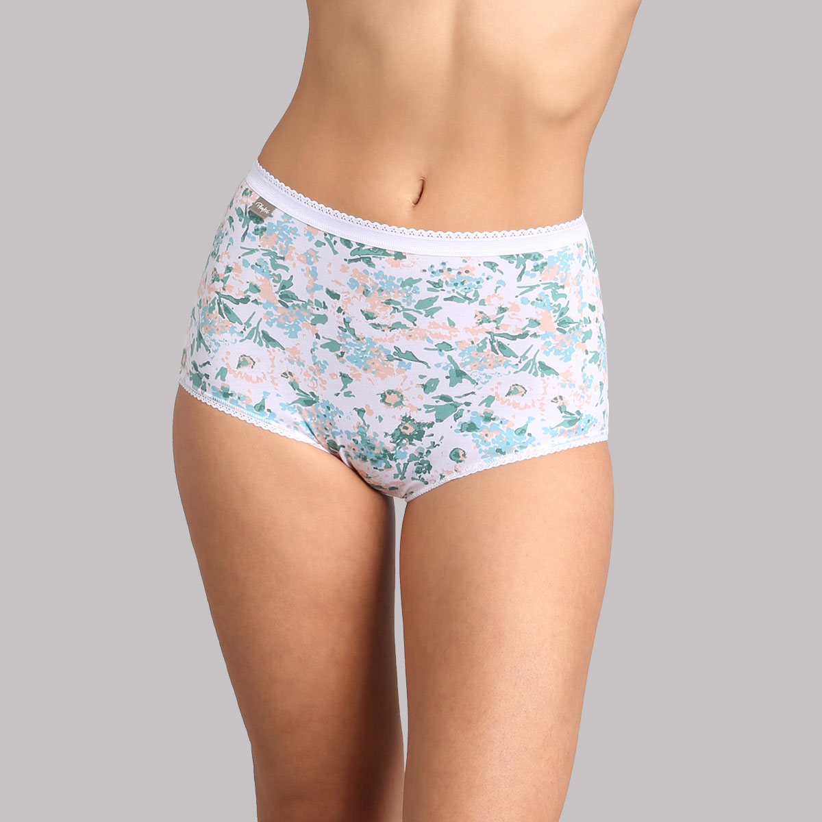 3 pack of high-rise knickers in green, white and floral print - Cotton Stretch, , PLAYTEX