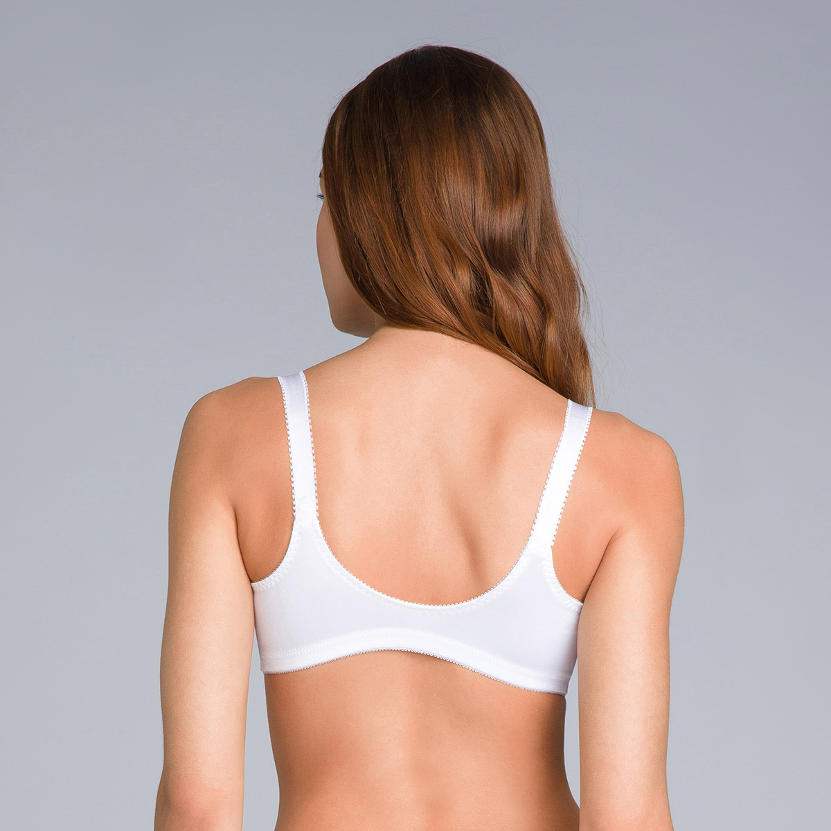 Non-Wired Full Cup Bra with Front Closure in White - Double Support - PLAYTEX