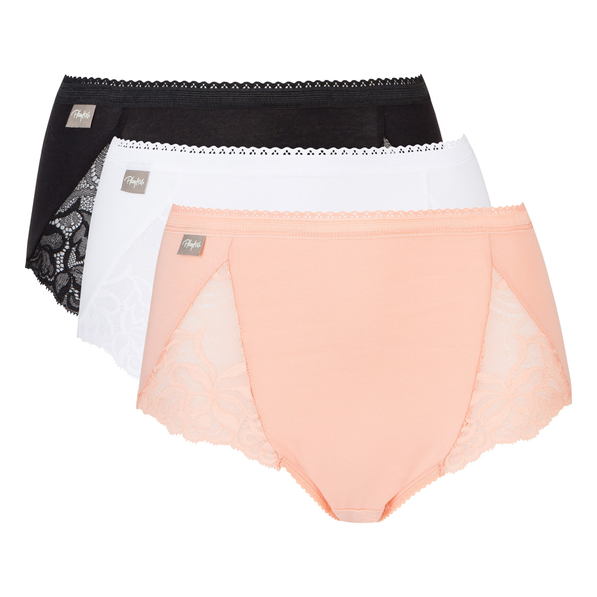 3 pack of midi knickers white/ pink sand/ black - Feminine Cotton , , PLAYTEX