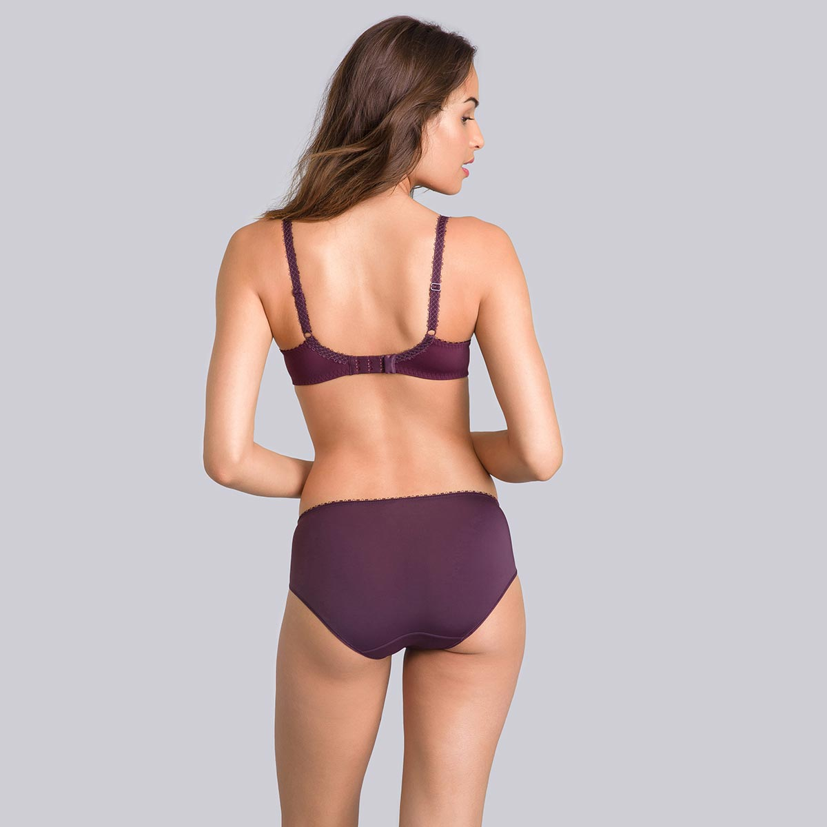 Black midi briefs with plum print - Flower Elegance-PLAYTEX