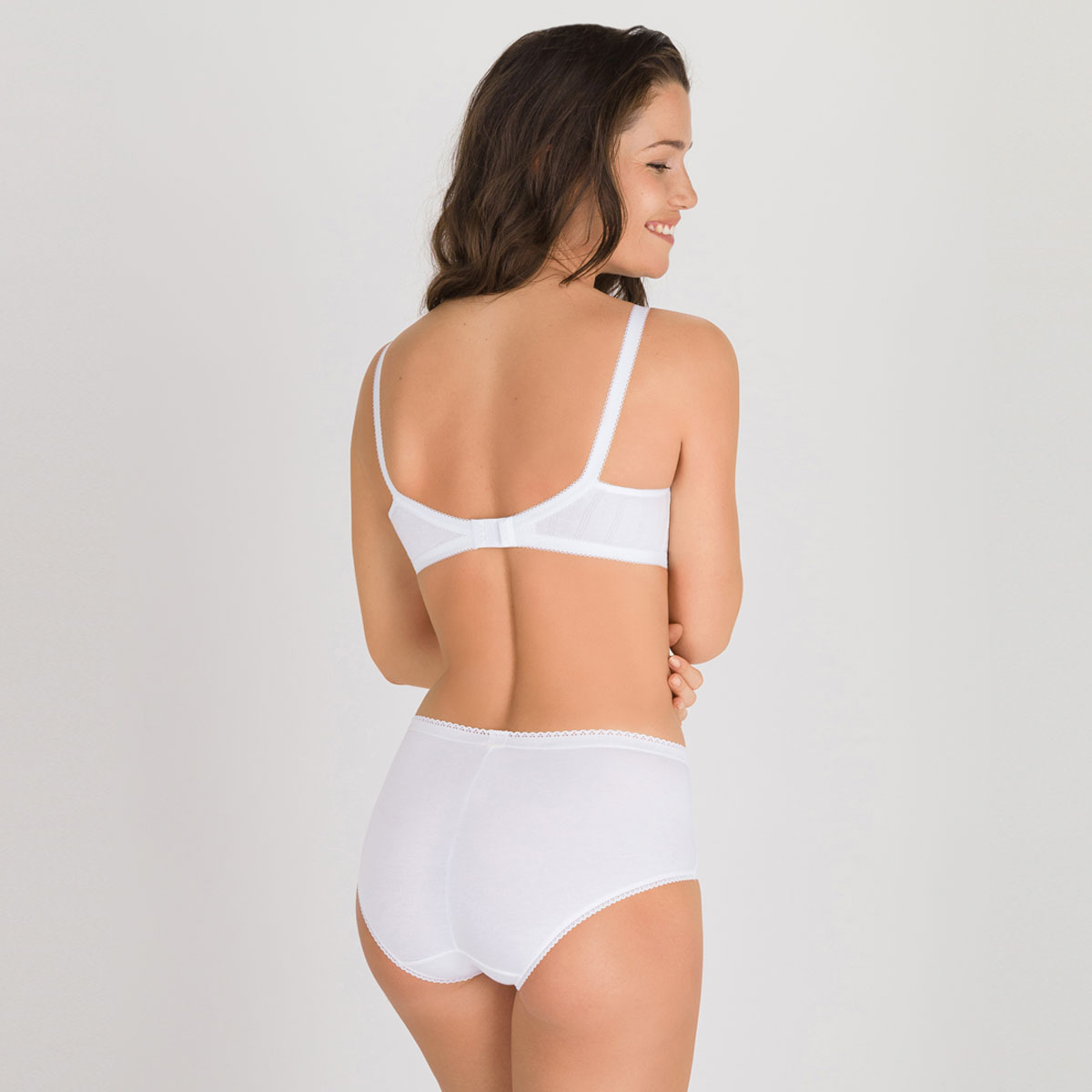 2 Midi Briefs in White – Cotton & Lace-PLAYTEX