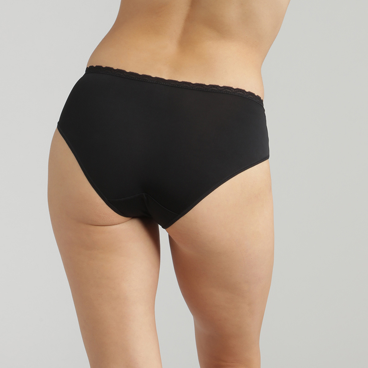 Lace midi knickers in black - Ideal Posture, , PLAYTEX