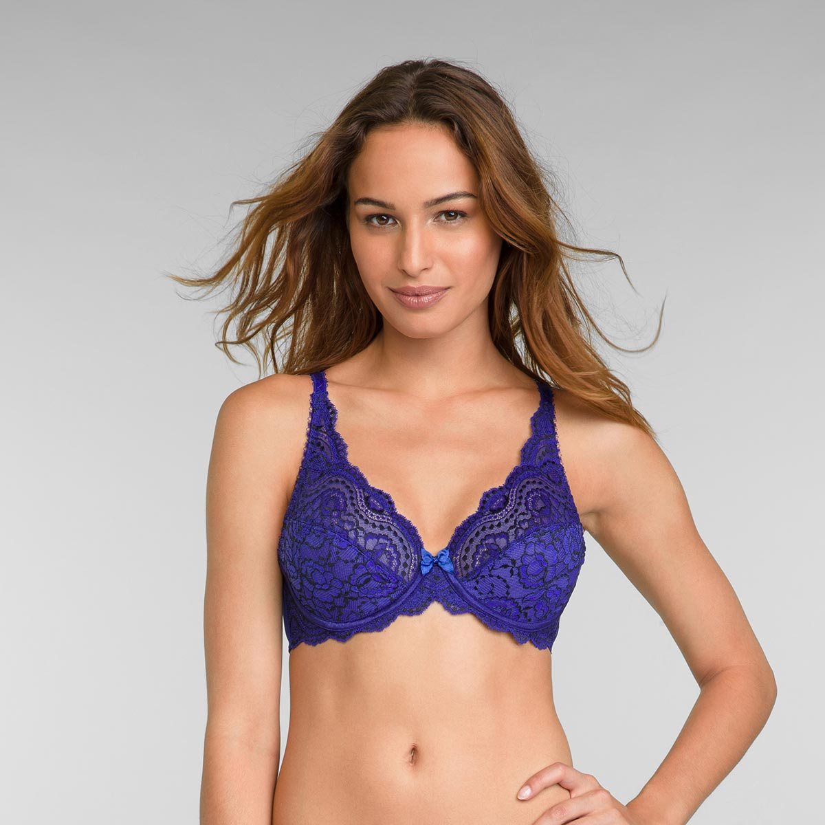 Full Cup Lace Bra in Intense Blue Flower Elegance, , PLAYTEX