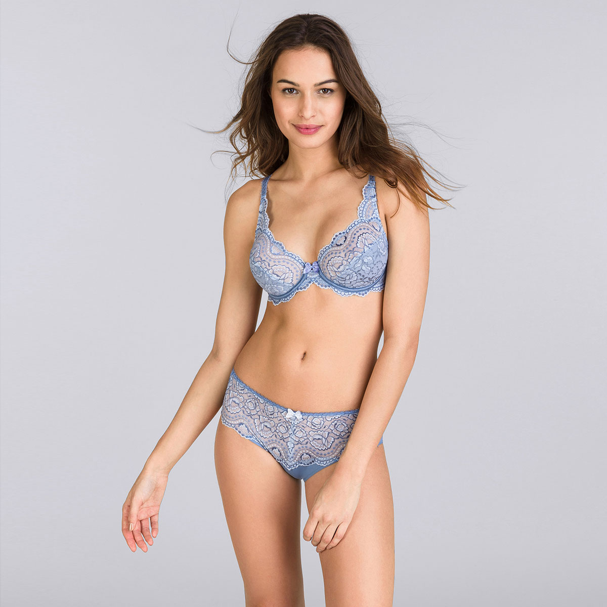 Two-tone denim blue full cup bra - Flower Elegance-PLAYTEX
