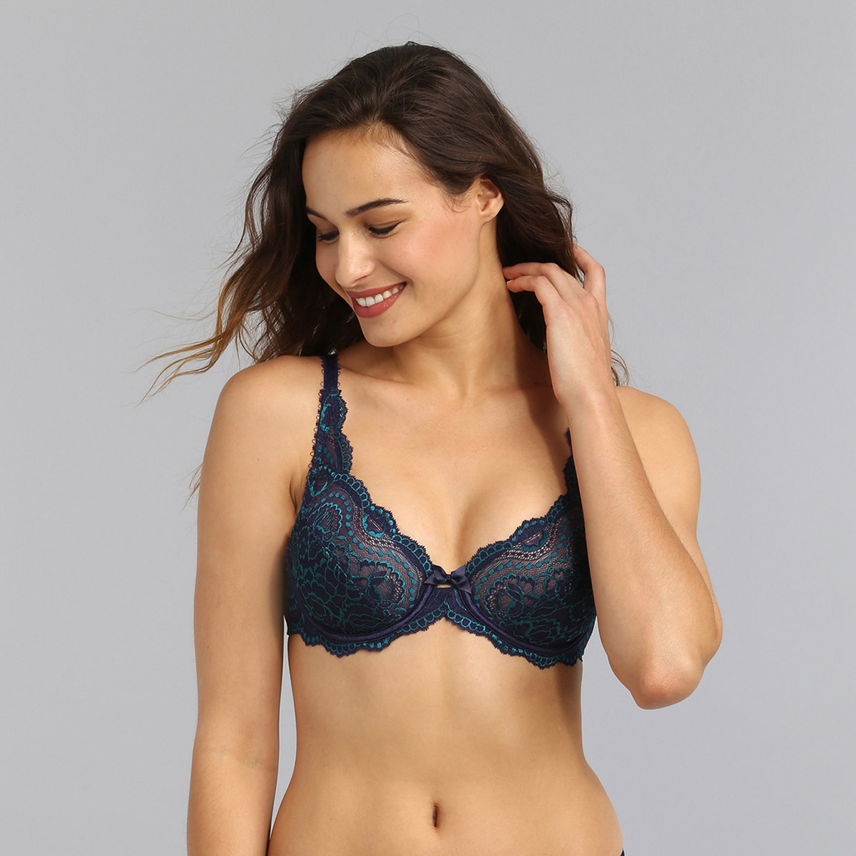 Underwired bra in navy Flower Elegance, , PLAYTEX