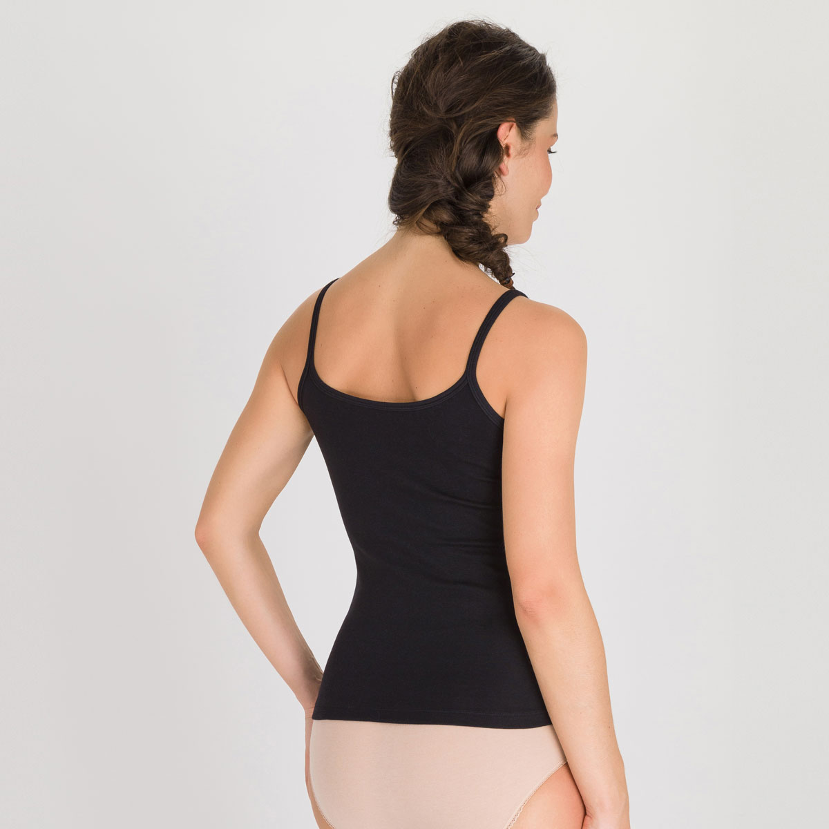 Camisole in Black - Cotton Liberty-PLAYTEX