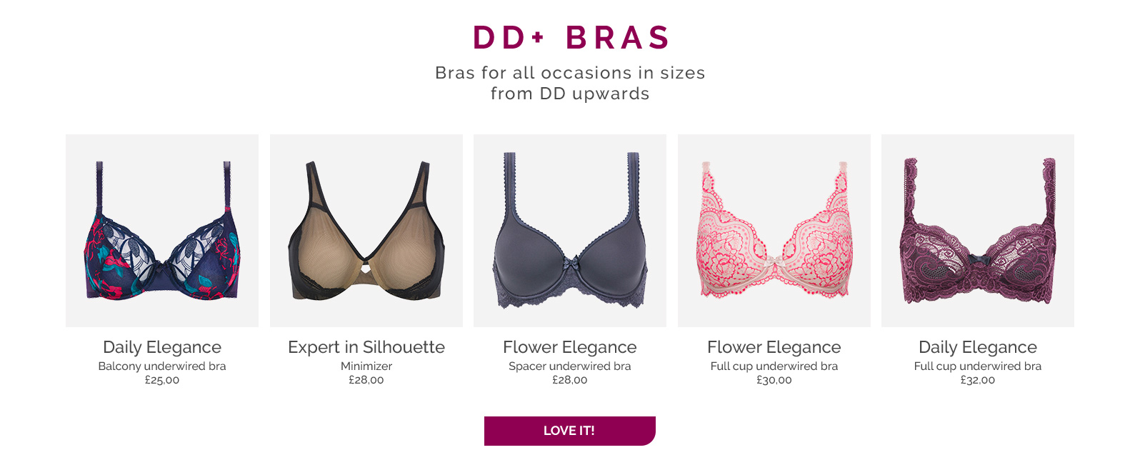 DD+ Bras Bras for all occasions in sizes from DD upwards